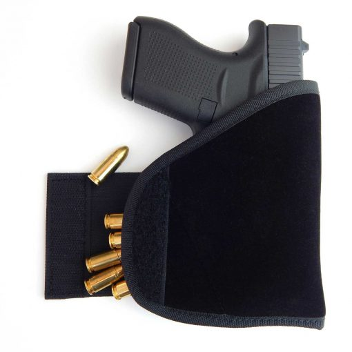 Concealment Pocket Holster with extra ammo gun concealed carry j-frames revolvers glock 43 sig p365