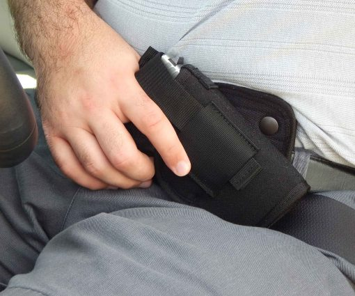 Driving Crossdraw Gun Holster Concealed Carry Glock 19, 43, 26, Sig P365, Smith and Wesson Shield